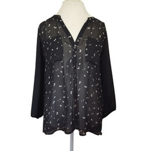 Maurices Black Sheer Blouse Top XL Long Sleeve